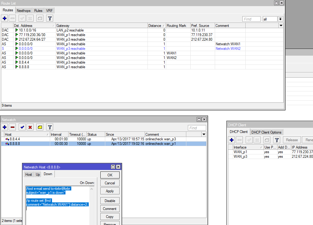 Mikrotik: WAN failover with e-mail notification | DXSdata